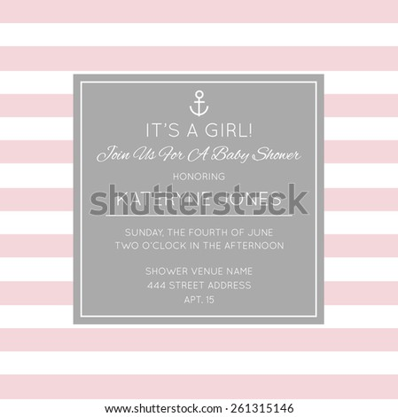 Vintage Baby Shower Invitation Card Template  - stock vector