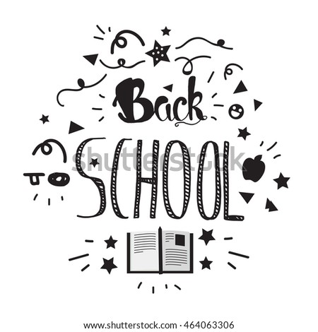 Vintage Back To School Lettering Banner. Knowledge day greeting card with book and pencil for print, t-shirt, badge, cloth, poster. Vector