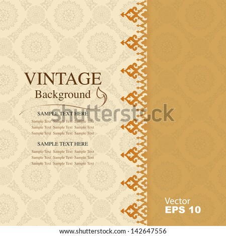 Vintage background, antique greeting card - stock vector