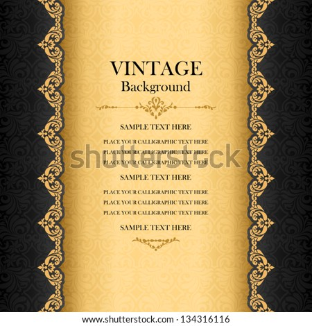 Vintage background, antique greeting card, black invitation with gold lace and floral ornaments, beautiful, luxury postcard, old paper, ornate page cover, ornamental pattern template for design - stock vector