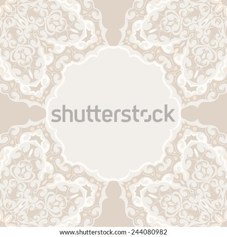 Vintage background, antique invitation card, greeting card with lace ornament, ornate page cover, decorative frame, elegant layout for your design. - stock vector