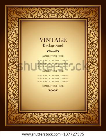 Vintage Background Antique Ornamental Frame Victorian ...