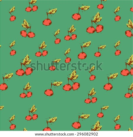 Vintage background, backdrop, poster, pattern with red cherries with green leaves, retro design, grunge - stock vector