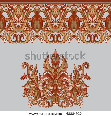 Vintage background  baroque pattern in red, gold and gray colour  - stock vector