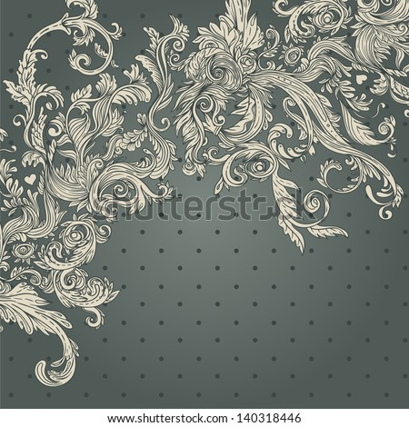 Vintage background brown baroque pattern - stock vector