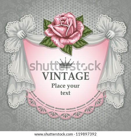 Vintage background decorated with lace pelmet and rose - stock vector