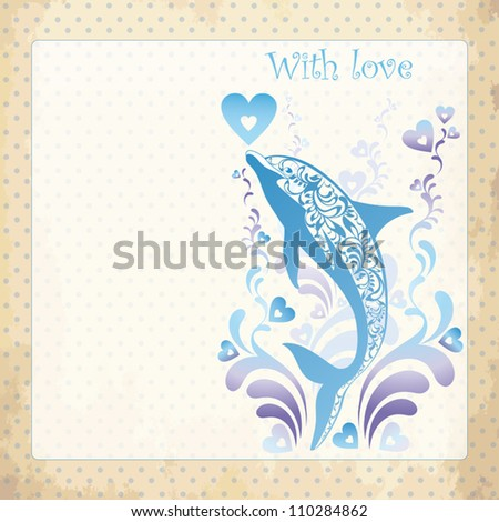 Vintage  background - design for greeting card, invitation, menu. Vector illustration with ornamental dolphin. Delicate pattern for wedding card or invitation - stock vector