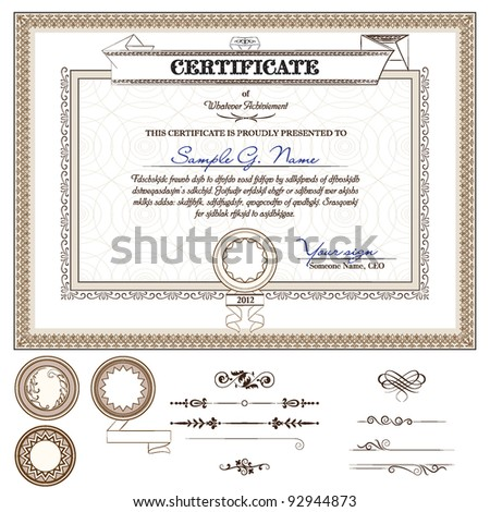 vintage background for certificate with detailed border and additional design elements - stock vector