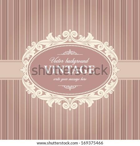 Vintage Background Frame Template Vector - stock vector