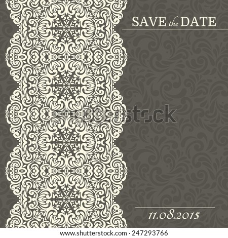 Vintage background, greeting card, invitation with lace ornament, abstract floral pattern template for design - stock vector