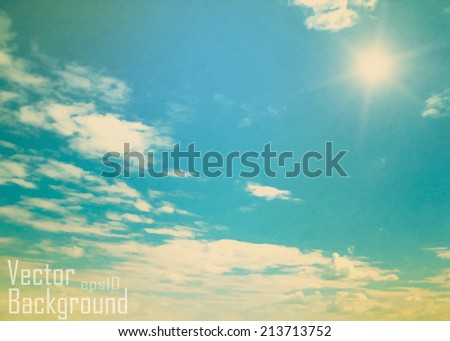 Vintage background in the blue shade with clouds - stock vector