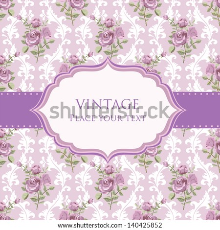 Vintage background invitation card template with roses - stock vector