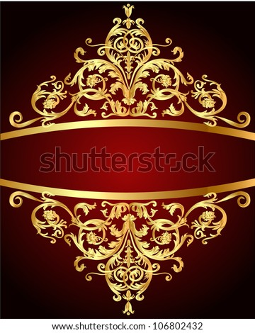 vintage background  red with gold(en) pattern - stock vector