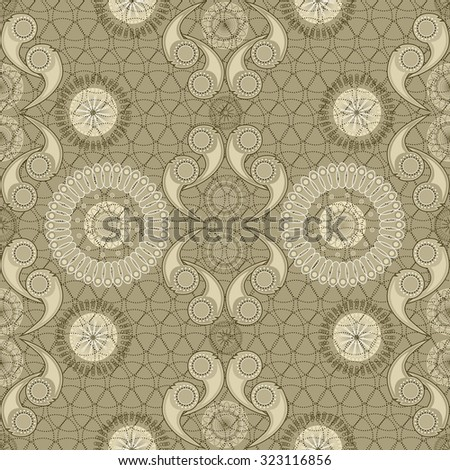 Vintage background, seamless pattern, imitation of old wallpaper. Abstract geometric and symmetrical pattern.
