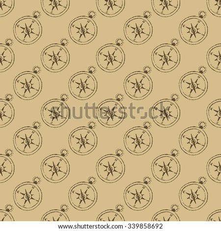 Vintage background. Seamless pattern with compasses. Vector texture for web, print, wallpaper, wrapping. - stock vector