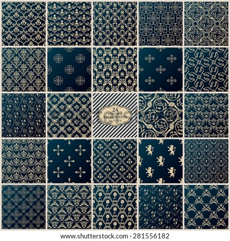 Vintage background set. Seamless pattern ornament and decoration design - stock vector