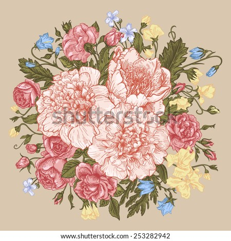 Vintage background with a round bouquet of summer flowers in pastel colors. Roses, peonies, bells. Vector illustration. - stock vector