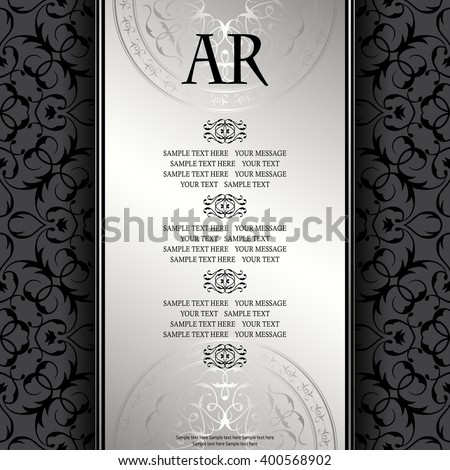 Vintage Background Antique Luxury Silver Frame Vector de ...