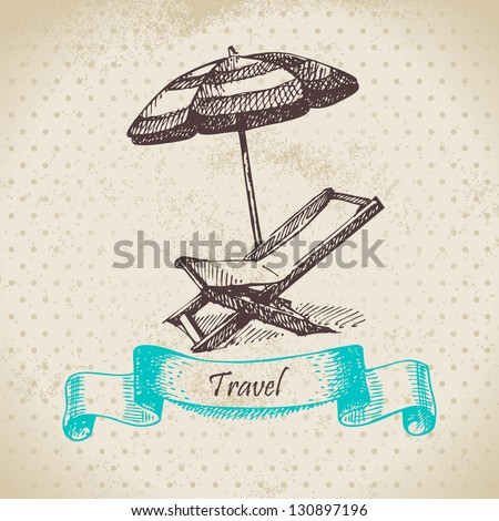 Vintage background with beach armchair and umbrella. Hand drawn illustration - stock vector