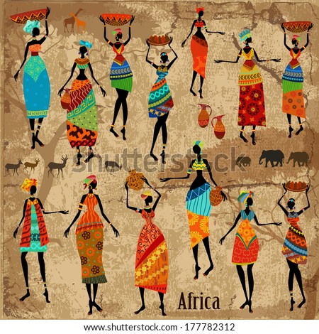 Vintage background with beautiful African women - stock vector