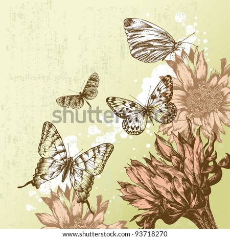 Vintage background with beautiful butterflies and blooming flowers. Vector illustration. - stock vector