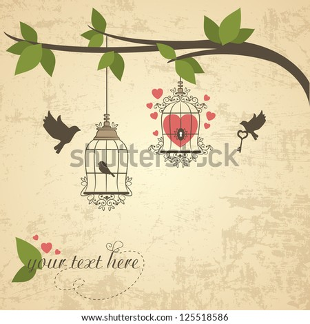 Vintage background with bird and cell. Vector illustration - stock vector