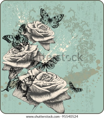 Vintage background with blooming with roses and butterflies, hand-drawing. Vector illustration. - stock vector
