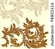 Vintage background with calligraphic detailed floral branch - stock vector