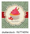 Vintage background with cupcake (Y) - stock vector