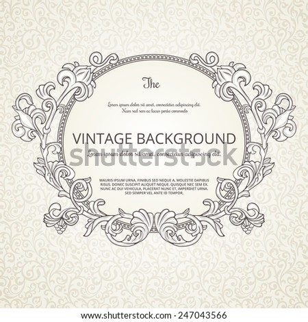 Vintage background with decorative round frame - stock vector