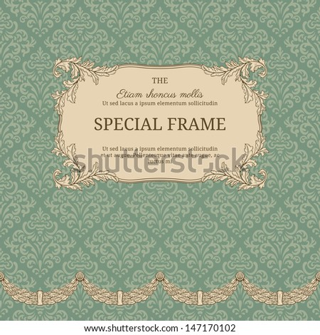 Vintage background with elegant frame with damask pattern