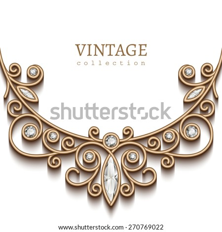 Vintage background with elegant gold vignette on white background, jewellery decoration, filigree diamond necklace, vector greeting card on invitation template, eps10 - stock vector