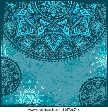 Vintage background with ethnic ornament - stock vector