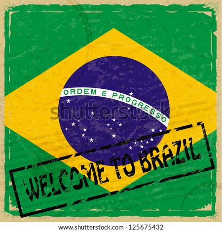 Vintage background with flag of Brazil - stock vector