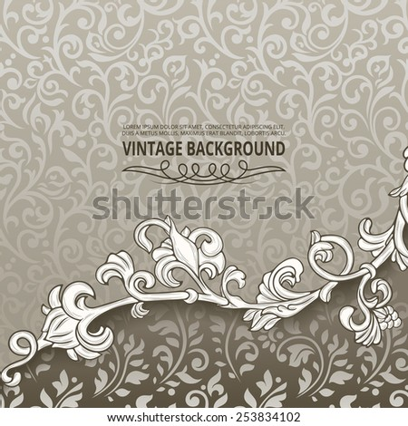 Vintage background with floral border element - stock vector