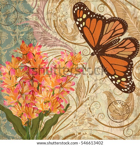 Vintage background with flowers and butterfly.