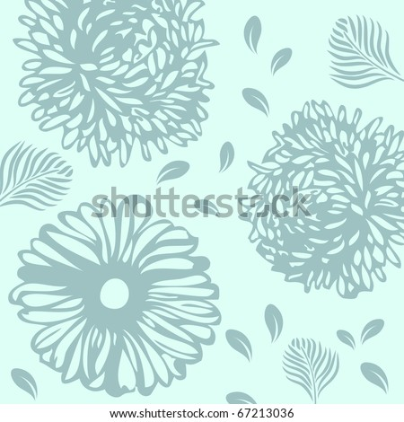 Vintage background with flowers and leaves - stock vector