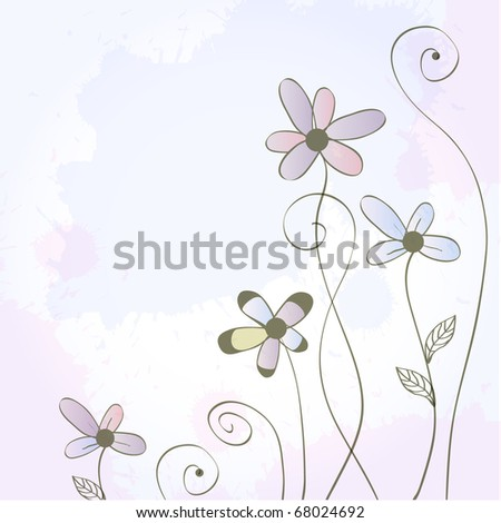 Vintage background with flowers and leaves