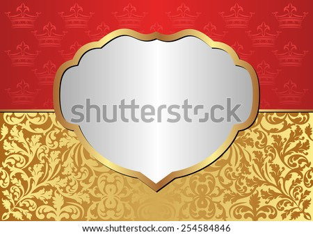 vintage background with frame and crowns pattern - stock vector
