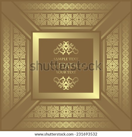 Vintage background with frame and decorative borders       - stock vector