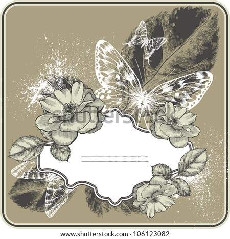 Vintage background with frame, blossoming with roses and butterflies. Hand drawing vector. - stock vector