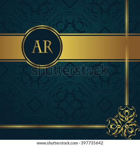 Vintage background with gold decoration and border. Seamless background in a blue