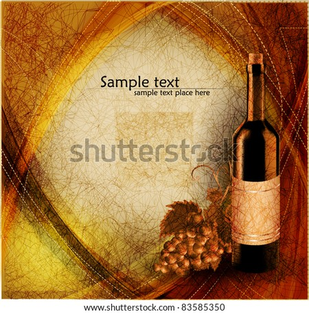 Vintage background with grape and bottle of wine, vector - stock vector
