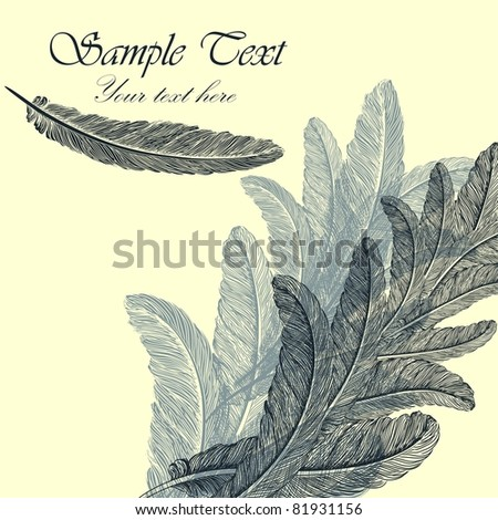 Vintage background with hand-drawn feathers - stock vector