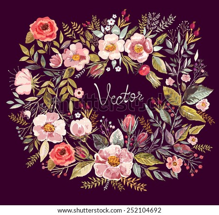 Vintage background with hand drawn floral wreath. Holiday card, invitations. Romantic flowers - stock vector
