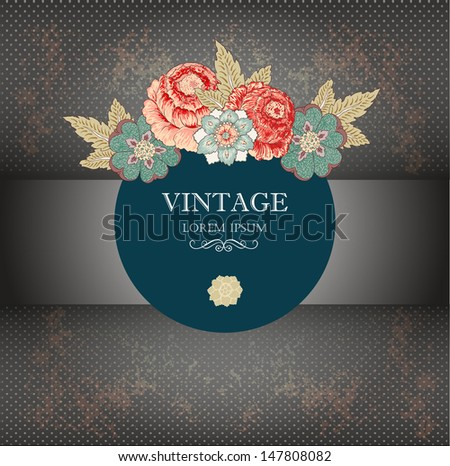 Vintage background with hand drawn flowers - stock vector