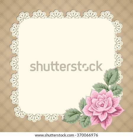Vintage background with hand drawn rose and lace doily on gingham background. Greeting card, invitation template. Vector illustration - stock vector