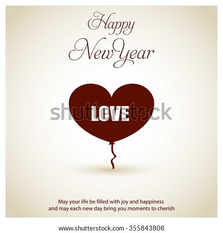 vintage background with icon happy new year typography and love balloon icon 2016 happy new