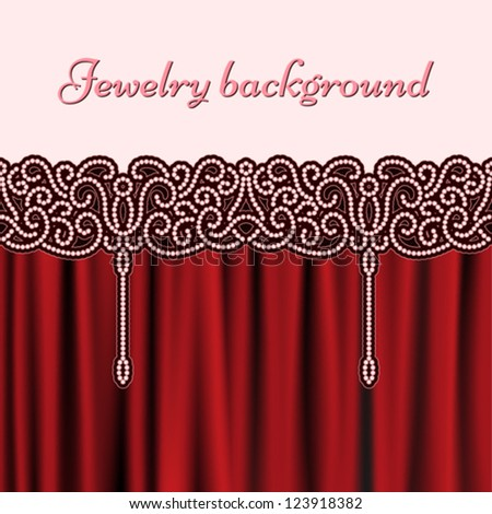 Vintage background with jewelry seamless border, pearl embroidery pattern, vector decorative illustration - stock vector