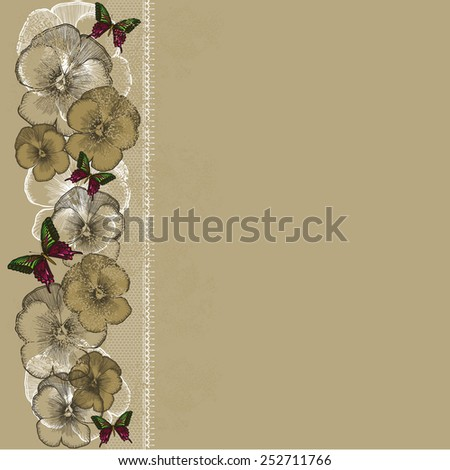 Vintage background with lace and pansies. Vector illustration. - stock vector